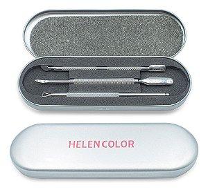 Kit De Estojo Com 3 Espátulas Inox Para Unhas E4 Helen Color