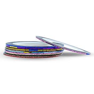 Kit 10 Fitas Fitilhos Decoração de Unhas Holográfico 1 mm