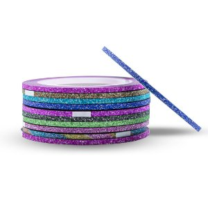 Kit 10 Fitas Fitilhos Decoração de Unhas Glitter Fios 2 mm