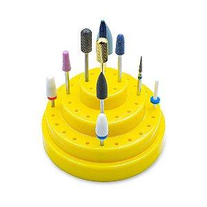 Suporte para 48 Brocas Cerâmica Unhas Gel Organizador Amarelo