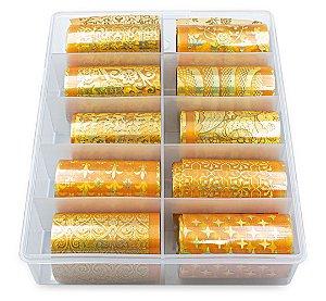 Nail Foil Unhas Dourado Holográfico, Caixa 10 Rolos de 100cm