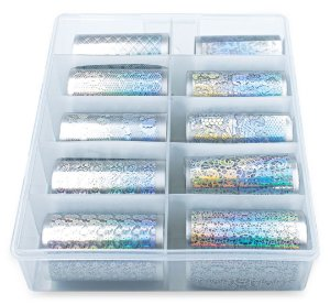 Nail Foil Unhas, Prata Holográfico, Caixa 10 Rolos de 100cm
