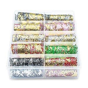 Nail Foil Para Unhas Dourado e Prata, Caixa com 10 Rolos