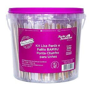 Kit Lixa e Palito Bambu Ponta Chanfro, 200 unidades