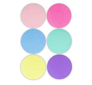 Kit 6 Esponjas Redondas Para Maquiagem Aplicação De Pó Base