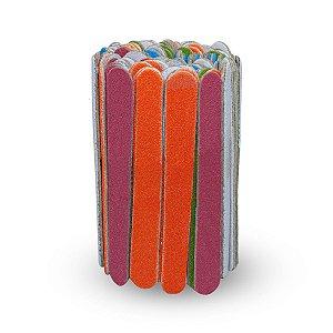 Kit 100 Mini Lixas Colorida Descartáveis Unhas Manicure Pedicure 8 cm, Arte Sedução