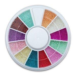 Disco Pedrarias Caviar 1 mm Decoração de Unhas Multicolor