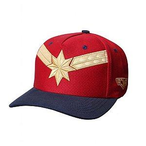 Boné Bordado Captain Marvel Vermelho