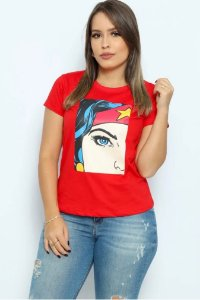 T Shirt Rosto Mulher Maravilha