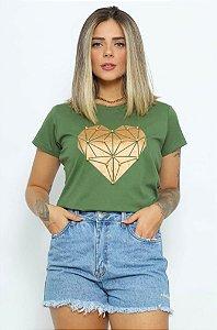 T Shirt Coração Diamante