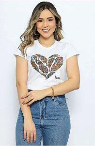 T Shirt Coração Pena
