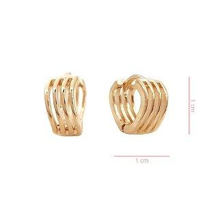 Brinco Argola Filetes -   Banhado a Ouro