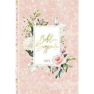 Biblia Sagrada Flores Rosa | NVI | Letra Normal | Capa Dura Soft-Touch
