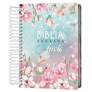 Bíblia Sagrada Anote Espiral Magnólia   NVI   Letra Normal   Capa Dura