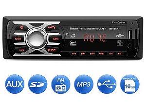 MP3 Player Automotivo 6660BN 1 Din Bluetooth USB