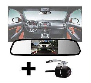 Kit Espelho Retrovisor com Monitor Lcd 4.3 + Câmera de Ré