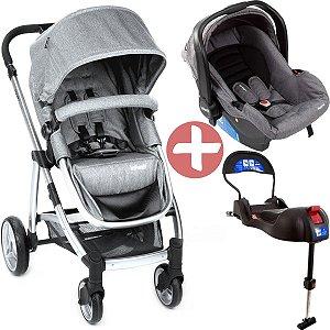 Carrinho De Passeio Infantil Travel System Epic Lite Trio Grey Steel Até 15 Kg Infanti