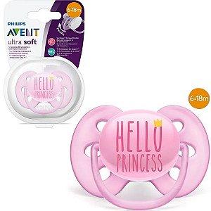 Chupeta de Bebê Decorada Ultra Soft 6 A 18 Meses Tam 2 Philips Avent Princess Rosa