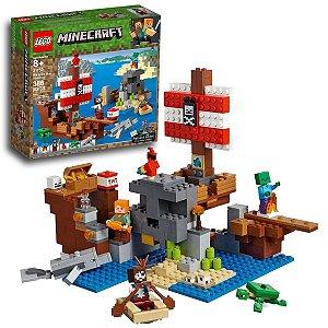 Brinquedo Lego Minecraft O Barco Pirata de Aventuras 386 peças +8 anos