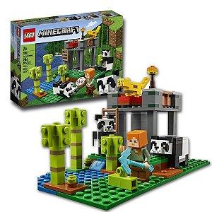 Brinquedo Lego Minecraft A Creche dos Pandas Divertido 204 Blocos +7 anos