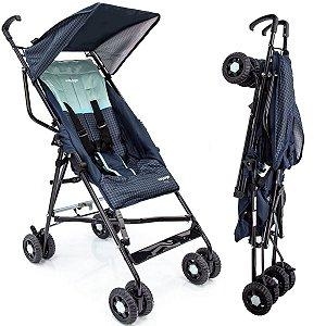 Carrinho de Bebê Passeio Guarda Chuva Reclinavel 6 Meses Até 15 Kg Capota Solar Capa de Transporte Wing Voyage Azul