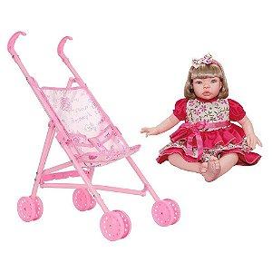 Boneca Infantil Baby Kiss Loira Sid-Nyl + Carrinho de Boneca Dobrável Polibrinq