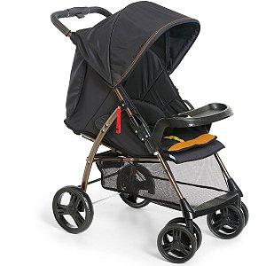 Carrinho de Bebê Passeio 2 em 1 Até 15kg Acopla Bebê Conforto Reclinavel San Remo Galzerano Preto Cobre