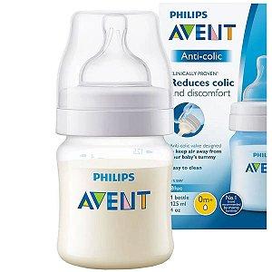 Mamadeira Avent Anticolica Medidor Externo Bebê 125ml +0 Meses Philips Classic Transparente