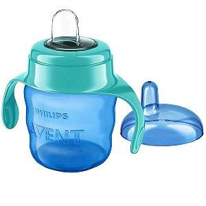 Copo de Treinamento Avent Bebê 6m+ Com Bico de Silicone Flexivel Spout Cup Philips Azul