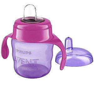 Copo de Treinamento Avent Bebê 6m+ Com Bico de Silicone Flexivel Spout Cup Philips Rosa