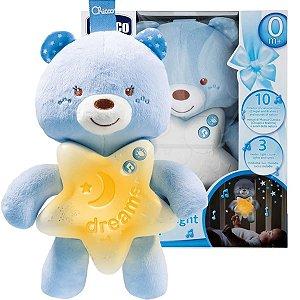 Móbile Ursinho de Pelucia Com Som E Iluminação Música Classica A partir do Nascimento Goodnight Bear Chicco Azul