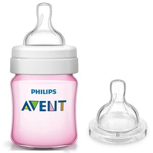 Kit Mamadeira de Bebê Philips Avent Anticólica 125ml + Bico nº 2 Rosa SCD809/24