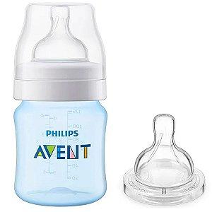 Kit Mamadeira de Bebê Philips Avent Anticólica 125ml + Bico nº 2 Azul SCD809/26