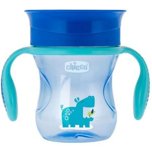 Copo de Bebê Com Alça 360º 2 em 1 Antivazamento Controle de Fluxo +12 Meses Perfect Cup Chicco Azul
