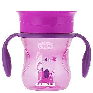 Copo de Bebê Com Alça 360º 2 em 1 Antivazamento Controle de Fluxo +12 Meses Perfect Cup Chicco Rosa
