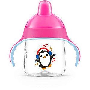 Copo de Treinamento Avent Com Alças Infantil Bebê Antivazamento Para +12 Meses 260ml Rosa Philips Copo de Transição