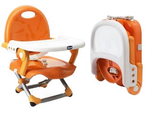 Assento Elevatório Bebê Cadeira de Refeição Alimentacão 6-36 Meses Até 15 Kg Pocket Snack Chicco Laranja