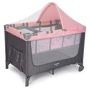 Berço de Bebê 2 em 1 Luck Rosa Boreal com Capota + Trocador e Mosquiteiro De 0 a 15Kg - Voyage