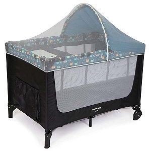 Berço de Bebê 2 em 1 Luck Azul Boreal com Capota + Trocador e Mosquiteiro De 0 a 15Kg - Voyage
