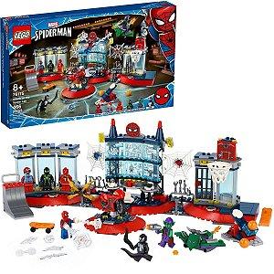 Lego Marvel Ataque ao Espetacular Abrigo do Homem-Aranha com Moto Aranha e Trajes 466pçs +8 Anos