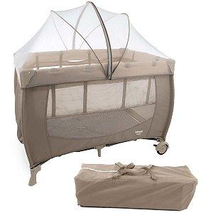 Berço de Bebê Portátil Com Trocador Mosquiteiro Compacto Para Viagem Stelle Infanti Beige Cozy