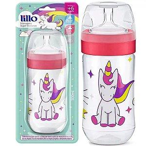 Mamadeira Bebê Bico de Silicone +6 Meses Tam 2 Com Medidor Super Evolution Lillo Menina