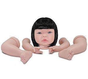 Kit Reborn Boneca Baby Kiss Olhos e Cabelo Moreno Sid Nyl 1210