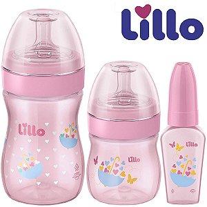 Kit Evolution do Bebê Rosa Antivazamento com 3 Mamadeiras 50ml, 150 ml, 240 ml - Lillo
