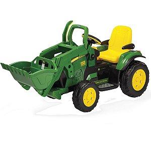 Trator Infantil Elétrico Criança Carrinho Com Pá 3 Anos até 40 Kg John Deere Ground Loader 12V Peg Perego