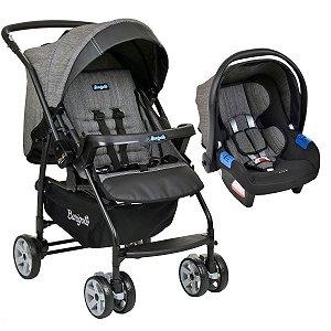 Conjunto Carrinho de Bebê Travel System Reclinável Reversível Rio K De 0 a 15kg com Bebê Conforto Touring X De 0 a 13kg