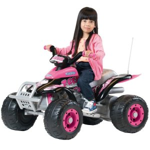 Quadriciclo Elétrico Infantil 3 Marchas 12V Brinquedo Criança T-Rex Arancio Peg Perego Rosa