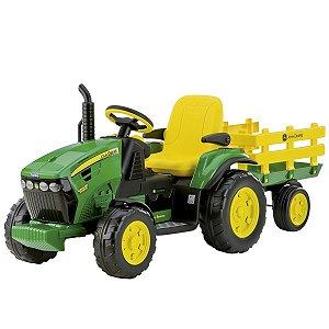 Trator Infantil Elétrico Criança Carrinho Com Carretinha 3 Anos até 40 Kg John Deere Ground Force 12 V Peg Perego