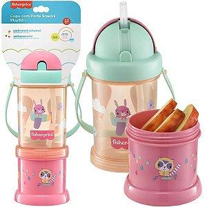 Copo Infantil Antivazamento com Porta Snacks Playful Rosa 300ml Para +12 Meses - Fisher Price