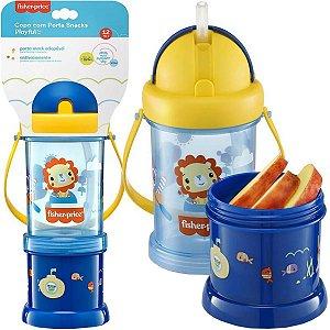 Copo Infantil Antivazamento com Porta Snacks Playful Azul 300ml Para +12 Meses - Fisher Price